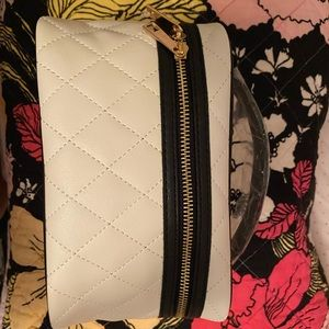 Black and white luxe gold zipper makeup bag